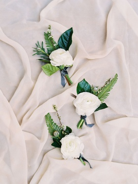 white ranunculus boutonniere with green leaves and ferns blue ribbon