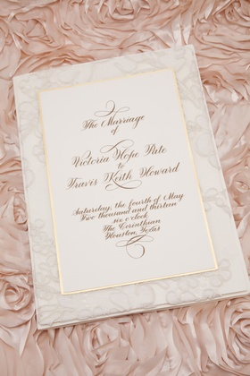 White lace wedding invite with gold border