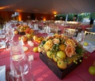 Wedding reception flower and fruit arrangement
