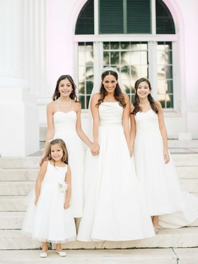 White flower girl dress, white junior bridesmaid dresses, white a line reem acra wedding dress