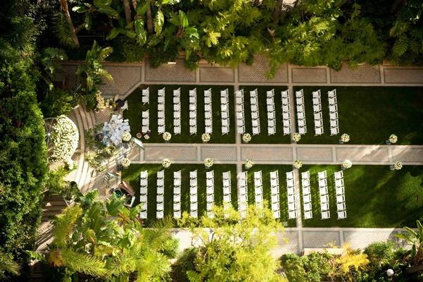 Bird's eye view of chair formation in garden