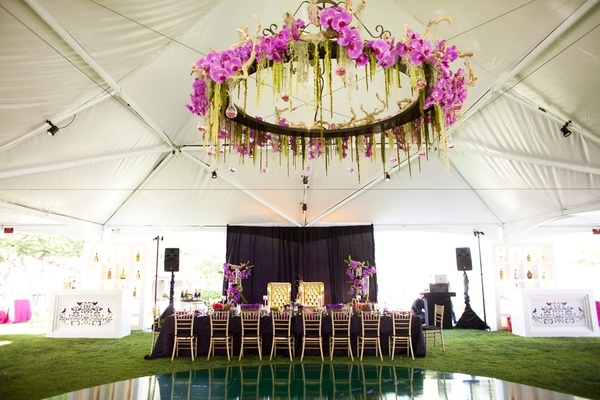 Floral structure above dance floor
