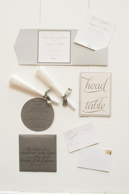 Head table card, envelope, and invitation inserts