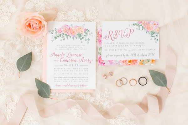 Wedding invitation and rsvp card flower motif pink and peach blooms pink envelope wedding rings