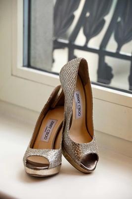 Jimmy Choo metallic wedding heels with peep toe