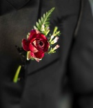 classic bold red boutonniere groom look vintage hempstead house wedding styled shoot