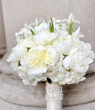 White rose, white peony, calla lily wedding bouquet