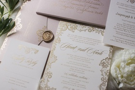 white wedding invitations with gold details, blush envelope, gold wax seal