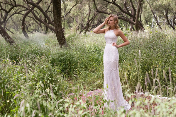 Limor Rosen 2017 Galla wedding dress halter neck crop top lace skirt Birds of Paradise