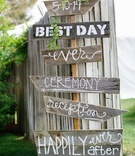 DIY wood signs for outdoor wedding ceremony and reception