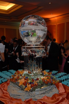 Wedding place card table with an ice sculpture of a globe