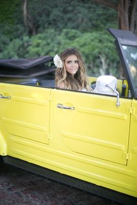 Katrina Hodgson on wedding day in yellow VW Thing