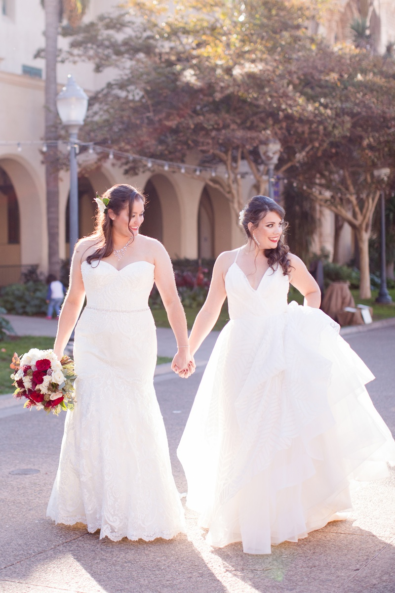 same-sex wedding lesbian couple bride in hayley paige, bride in winnie couture