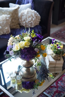 coffee table centerpiece display new york city bridal shower wedding reflective garden inspiration