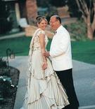 Bride and groom in unique wedding-day attire