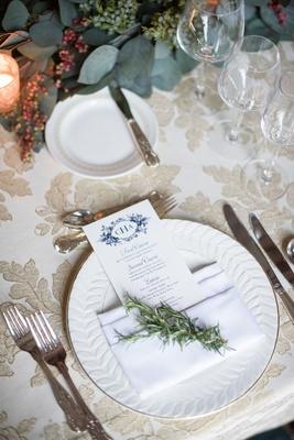 Wedding reception gold textured embroidery linens blue flower print monogram menu card napkin sprig