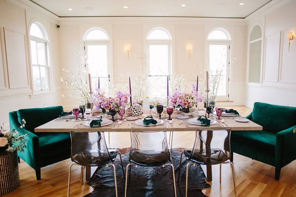 green velvet chairs, black ghost chairs, intimate wedding reception