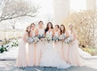 bridesmaids in champagne bridesmaid dresses high neck bride in allure bridals mermaid gown wedding