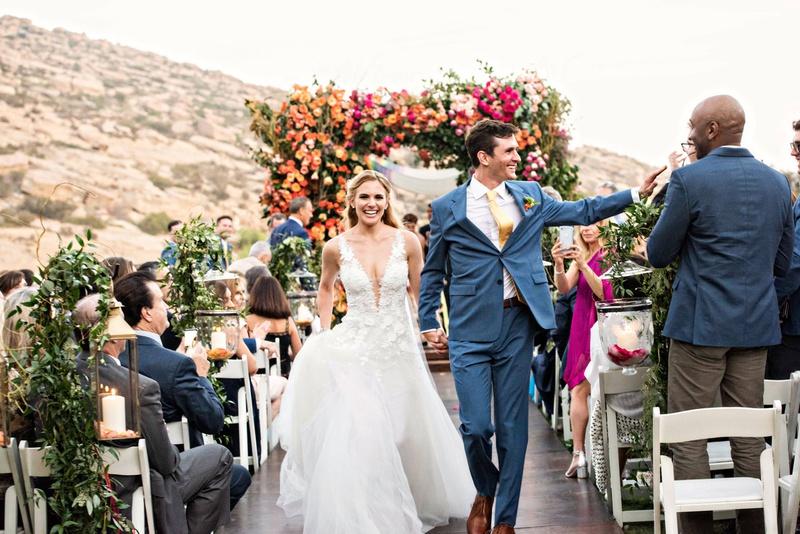 wedding ceremony recessional bride groom outdoor ceremony hummingbird nest ranch colorful decor
