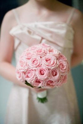Round wedding bouquet with light pink roses