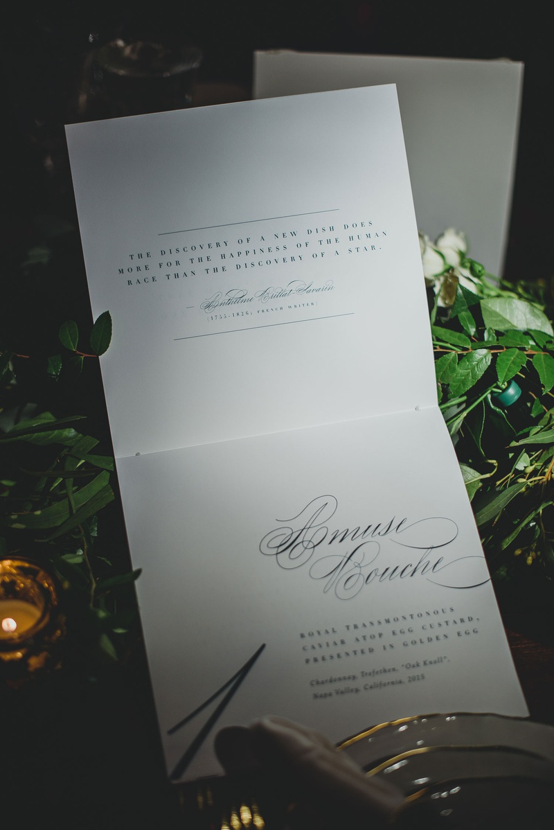wedding menu with quotes about food gastronomy fare cuisine with amuse bouche calligraphy menu