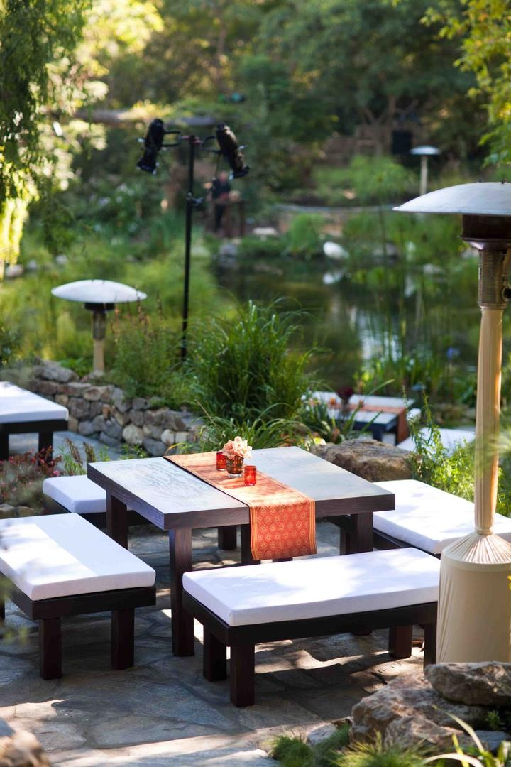 Wedding lounge area facing the pond at Church Estate Vineyards