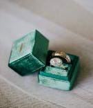 wedding rings engagement ring round halo design vintage inspired in emerald green velvet mrs box