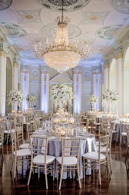 Silver gold and white wedding reception at The Biltmore Ballrooms