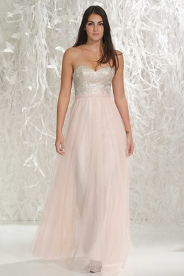 Wtoo Bridesmaids 2016 strapless bridesmaid dress with long pink skirt and silver sweetheart neckline