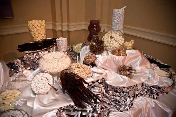 Lollipops and chocolate covered candies at dessert bar