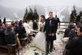 Winter outdoor wedding guests in jackets