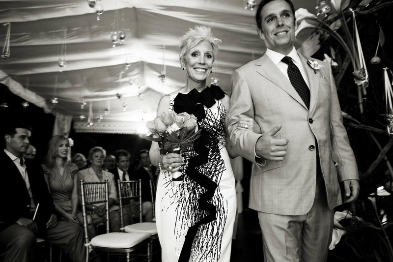 Black and white mother-of-the-groom attire