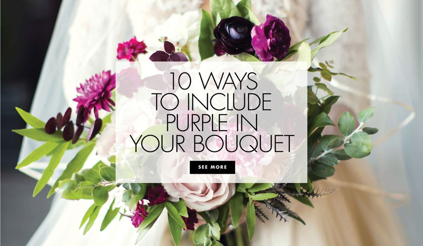 bridal bouquets purple accents real weddings styled shoots glam lavender