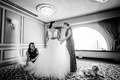 mother of the bride and sister/maid of honor get bride ready in hayley paige