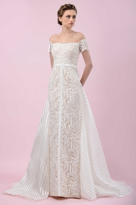 Gemy Maalouf 2016 Paisley Pattern Off The Shoulder Wedding Dress With Stripe Train
