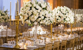 Wedding reception with gold chairs tall gold candleabra tall centerpiece white flowers