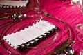 Black and white chevron napkin at pink wedding table
