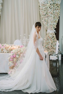 jinza couture bridal Katie striped a-line gown, french chantilly lace cathedral veil