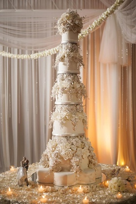 Giant wedding cake with sugar flower roses