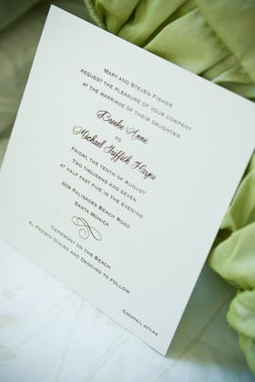 Ivory wedding stationery with brown printed invite