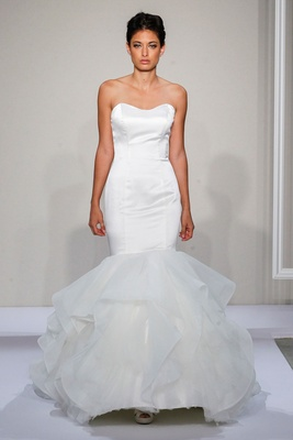 Dennis Basso 2016 strapless satin mermaid wedding dress with tulle skirt