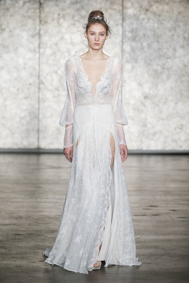 Inbal Dror Fall 2018 V-neck and back embroidered lace gown with long sleeves and double front slits