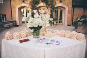 Guestbook with photos and bridal party bouquets