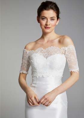 Blue Willow Bride Spring 2019 collection lace off the shoulder short sleeve top