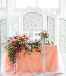 salmon sweetheart table bold floral arrangement scheme hanging down Ukrainian kiev kyiv reception