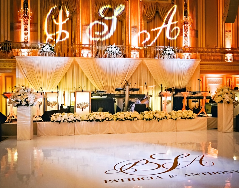 Custom dance floor and gobo lighting with monogram