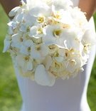 white bouquet featuring orchids southern california wedding simple fresh beach