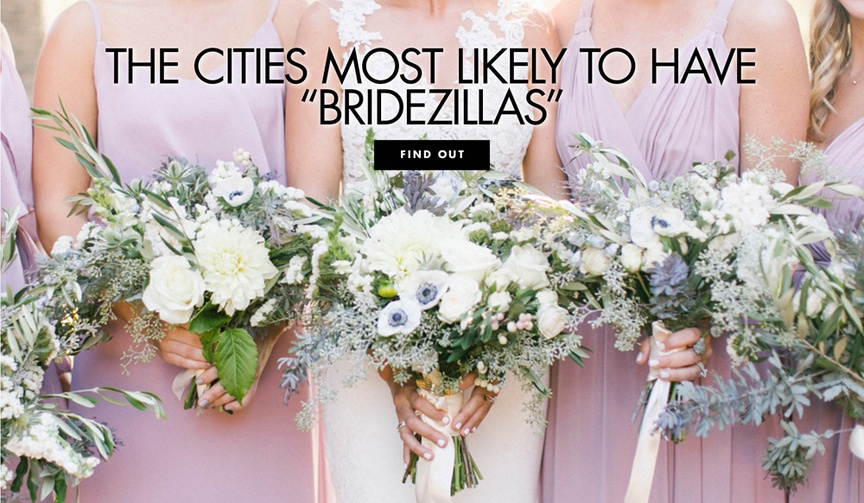 The cities most likely to have bridezilla brides wedding survey