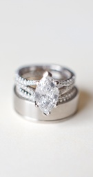 Wedding bands and split shank diamond ring