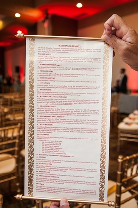 Hindu Wedding Ceremony Program On Scroll Traditional Indian Nuptials